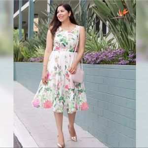 Beautiful Sleeveless Floral Fit & Flare Dress